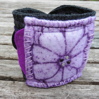 Flower Cuff Hand Printed Fabric Wearable Artwork Bracelet
