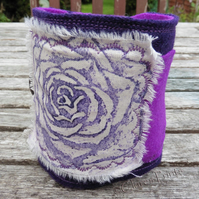 Rose Flower Cuff Hand Printed Fabric Wearable Artwork Bracelet