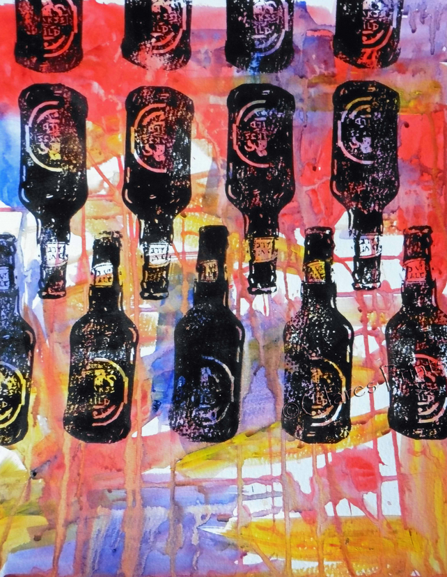 Beer Bottles Hand-Pulled Linocut Print