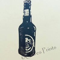 Beer Bottle Hand-Pulled Linocut Print