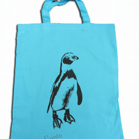 Penguin Tote Bag Animal Linocut Hand Printed Blue Shopping Bag