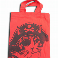 Pirate Cat Tote Hand Printed Red Mini Tote Shopping Bag