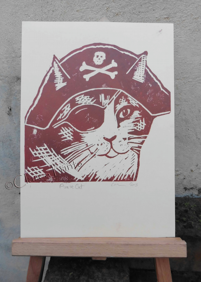 Pirate Cat Open Edition Hand-Pulled Linocut Print