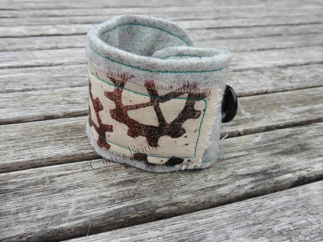 Steampunk Cogs Wrist Cuff Hand Printed Fabric Wearable Artwork Bracelet