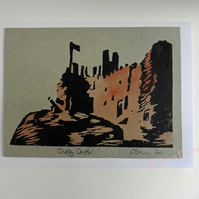 Dudley Castle West Midlands Lino Print Blank Greeting Card with Watercolour