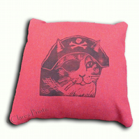Red Pirate Cat Cushion Cover Hand Printed