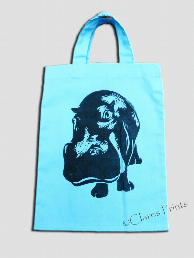 Blue Hippo Lino-Printed Hand Printed Mini Tote Shopping Bag Children
