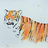 Tiger Art Watercolour Original Cat Painting
