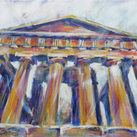 Greek Temple Painting Art Original Acrylic Painting on Canvas OOAK