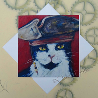 Captain Jack Cat Card Steampunk From my Original Oil Painting Pirate