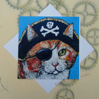 Pirate Ginger Cat Art Steampunk Greeting Card From my Original Painting