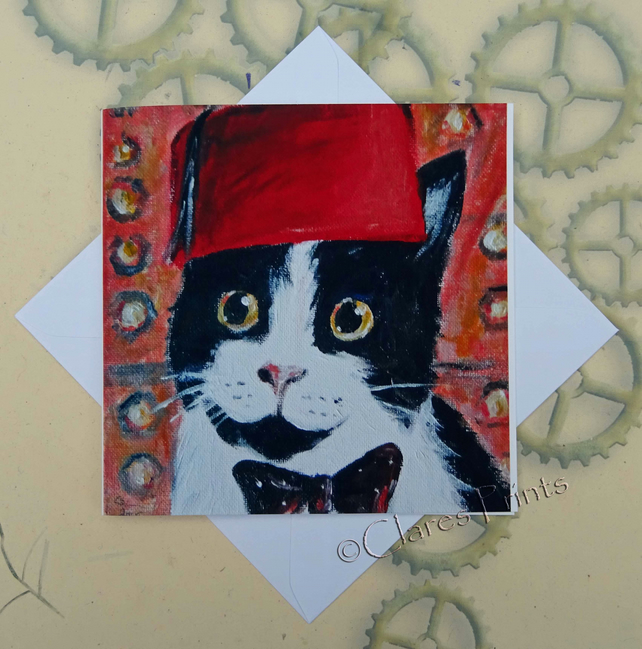 Dr Who Cat Art Greeting Card From my Original Painting