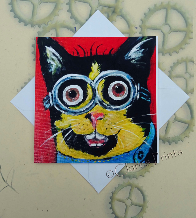 Minion Kitty Cat Art Greeting Card From my Original Painting