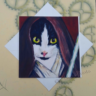 Jedi Star Wars Cat Art Greeting Card From my Original Painting