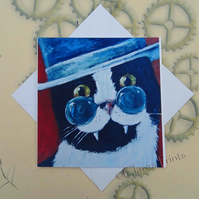 Dracula Vampire Cat Art Greeting Card From my Original Painting