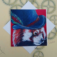 Steampunk Red Panda Art Greeting Card From my Original Painting