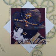 Sheriff Kitty Greeting Card From my Original Painting
