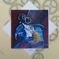 Steampunk Parrot Art Greeting Card From my Original Painting