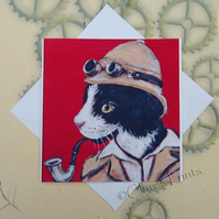 Professor Cat Art Greeting Card From my Original Painting