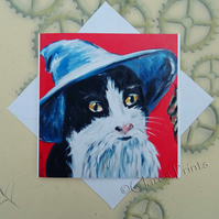 Gandalf Cat Art Greeting Card From my Original Painting