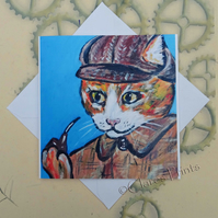 Sherlock Ginger Cat Art Greeting Card From my Original Painting