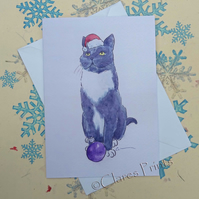 Christmas Cat Greeting Card From my Original Painting