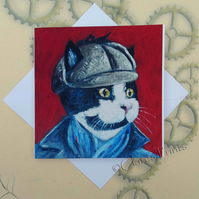 Sherlock Cat Art Greeting Card From my Original Painting