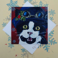 Christmas Kitty Cat Art Greeting Card From my Original Painting
