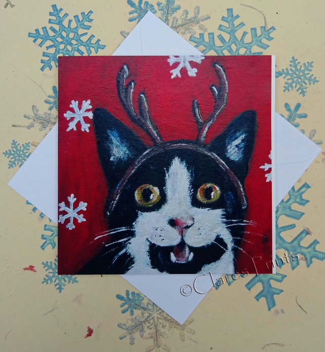 Christmas Kitty Cat Art Greeting Card From my Original Acrylic Painting Reindeer