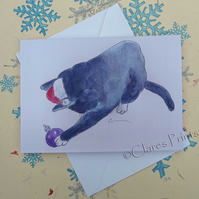 Christmas Cat 2 Greeting Card From my Original Painting