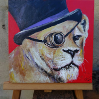Steampunk Lion Art Original Art Acrylic Painting on Canvas OOAK
