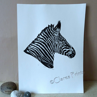 Zebra  Limited Edition Collagraph Print Art