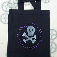 Skull and CrossbonesScreen Printed Black Mini Tote Childrens Bag Pirate