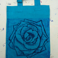 Purple Rose Flower Collagraph Hand Printed Turquoise Mini Tote Bag Children