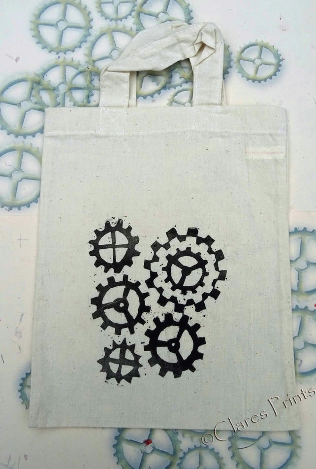 Steampunk Cog Tote Hand Printed Cream Mini Tote Shopping Bag