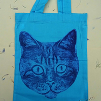 Blue Cat Collagraph Printed Hand Printed Mini Tote Shopping Bag Children