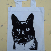 Black & White Cat Lino-Printed Hand Printed Mini Tote Shopping Bag Children