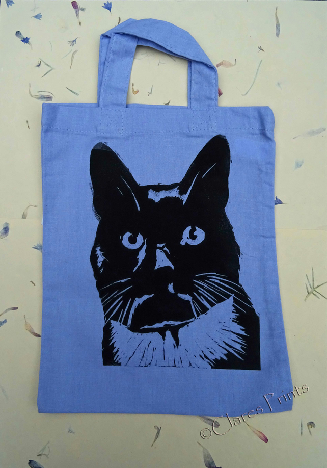 Purple Cat Tote Linocut Hand Printed Mini Tote Shopping Bag