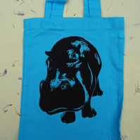 Sale Black Hippo Linocut Hand Printed Mini Tote Shopping Bag Children