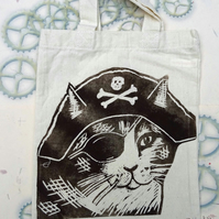 Pirate Cat Tote Hand Printed Mini Tote Shopping Bag