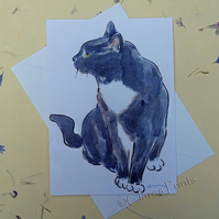 Black and White Cat Blank Greeting Card From my Original Watercolour Painting
