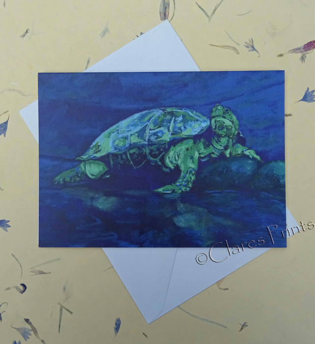 River Turtle Blank Greeting Card From my Original Acrylic Painting