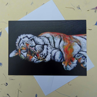 Sleepy Tiger Blank Greeting Card From my Original Acrylic Painting