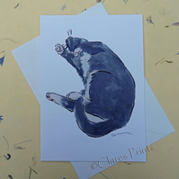 Tickle Me! Cat Blank Greeting Card From my Original Watercolour Painting