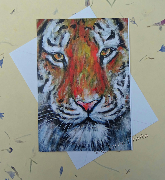Tiger Blank Greeting Card From My Original Acry Folksy