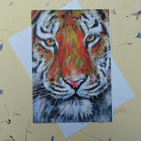 Tiger Blank Greeting Card From my Original Acrylic Painting