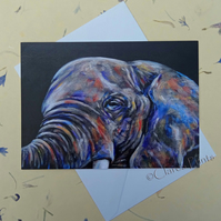 Elephant Blank Greeting Card From my Original Acrylic Painting