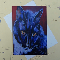 Black and White Cat Blank Greeting Card From my Original Art Acrylic Painting