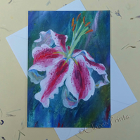 Lily Flower Blank Greeting Card From my Original Acrylic Painting