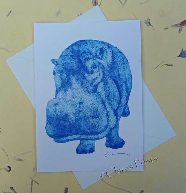 Blue Hippo Blank Greeting Card From my Original Collagraph Print